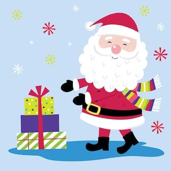 Weihnachtskarte mit süßem weihnachtsmann und geschenkdesign