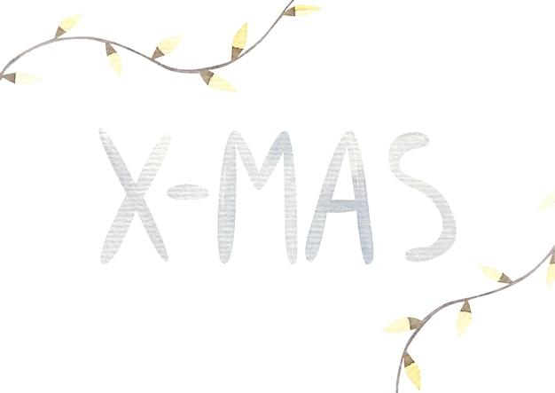 Weihnachtskarte mit süßen hellen glühbirnen, weihnachtsdekor und schriftzug, aquarellillustration