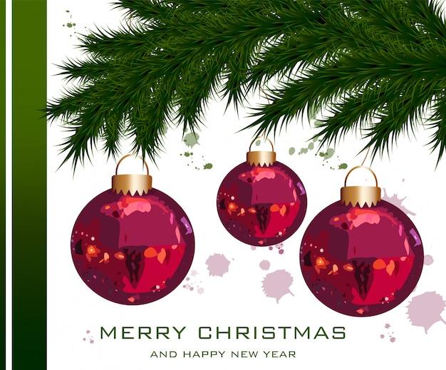 Weihnachtskarte mit tannenbaum und kugeln