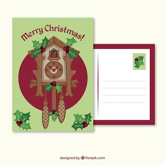 Weihnachtskarte mit uhr