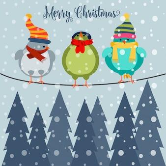 Weihnachtskarte mit vögeln auf draht