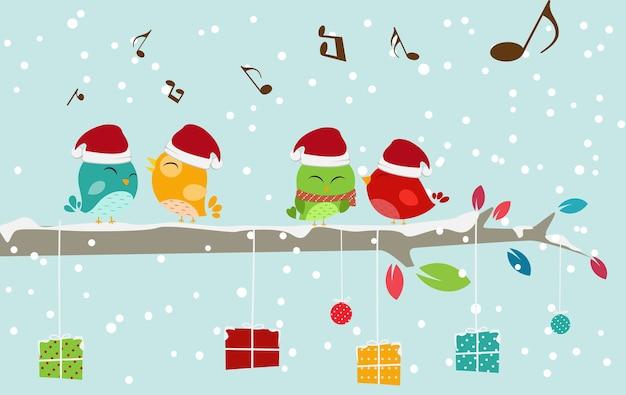 Weihnachtskarte mit vogel und geschenkbox