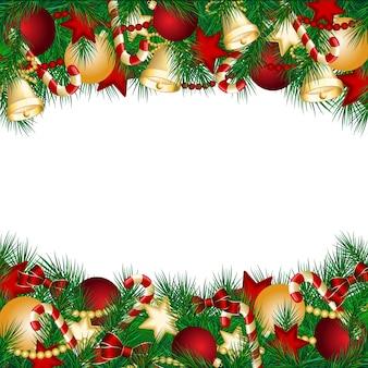 Weihnachtskarte mit weihnachtsbaumzweigen und kugeln