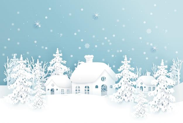 Weihnachtskarte mit weihnachtsdorf