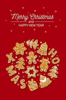 Weihnachtskarte mit weihnachtslebkuchen auf einer roten hintergrundvektorillustration