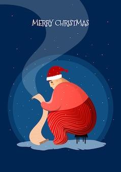 Weihnachtskarte mit weihnachtsmann, der briefe auf einem dunklen hintergrund im flachen stil liest