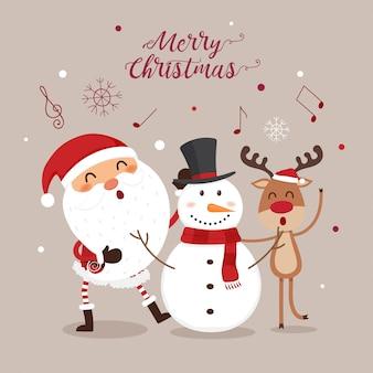 Weihnachtskarte mit weihnachtsmann, schneemann und rentier.