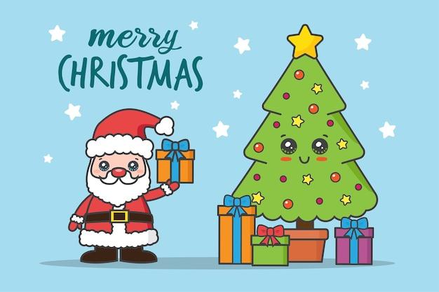 Weihnachtskarte mit weihnachtsmann und baum mit geschenken Premium Vektoren