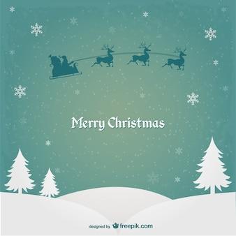 Weihnachtskarte mit weihnachtsmann und rentiere