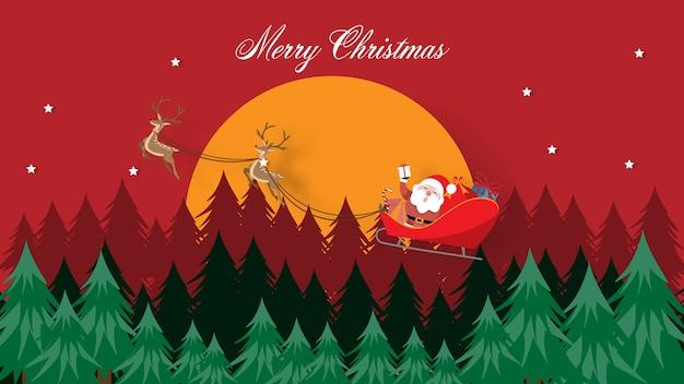 Weihnachtskarte mit weihnachtsmann und rentieren auf dem schlitten