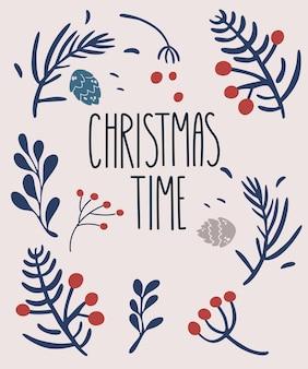 Weihnachtskarte mit zweigbeeren und schriftzug. traditionelle winterelemente. süßes papieretikett, banner im skandinavischen stil. vektor-cartoon-feiertags-illustration.