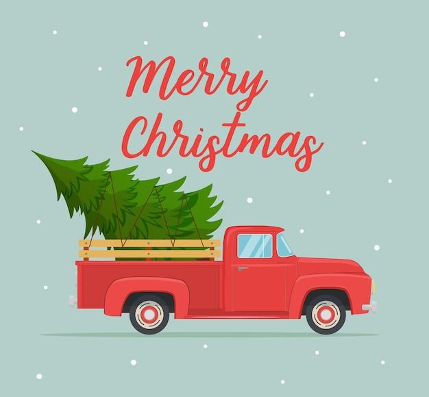 Weihnachtskarte oder posterdesign mit retro-rotem pickup-truck mit weihnachtsbaum an bord. vorlage für silvesterparty oder veranstaltungseinladung oder flyer. vektorillustration im flachen stil