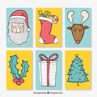 Weihnachtskarte sammlung in hand gezeichnet stil