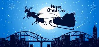 Weihnachtskarte Santa Schlitten