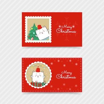 Weihnachtskarte süße katze meerjungfrau
