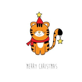 Weihnachtskarte. süßer tiger in einem neujahrskostüm mit sternen auf weißem hintergrund. symbol des neuen jahres