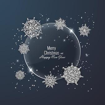Weihnachtskarte verziert mit glänzenden schneeflocken. frohes neues jahr-grußkarte, vektor-illustration