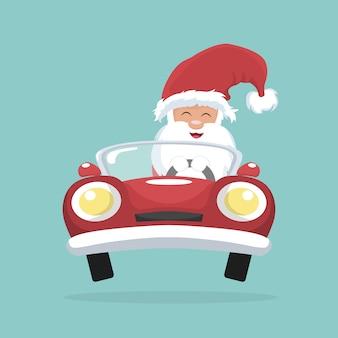 Weihnachtskarte von santa claus, die sein auto fährt