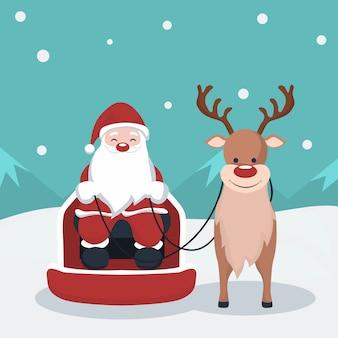 Weihnachtskarte von santa claus in seinem schlitten mit rentier