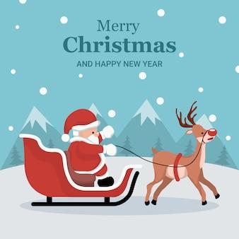 Weihnachtskarte von santa claus in seinem schlitten