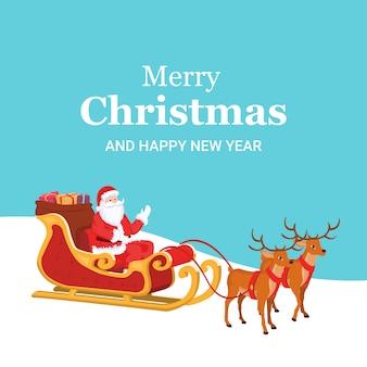 Weihnachtskarte von santa claus mit seinem pferdeschlitten und rentier.