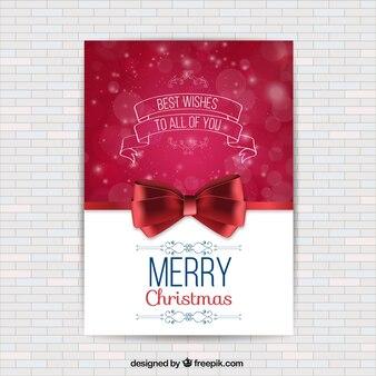 Weihnachtskarte wit ein rotes band