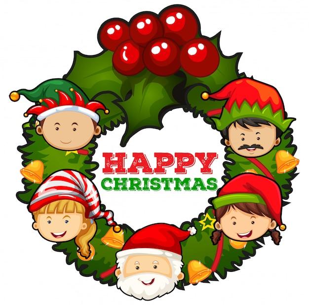 Weihnachtskarten-design mit santa und misteln