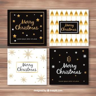Weihnachtskarten mit goldenem stil Kostenlosen Vektoren