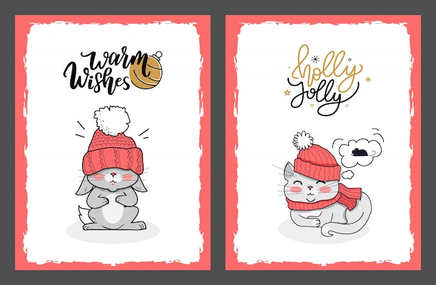 Weihnachtskarten mit häschen und holly jolly cat