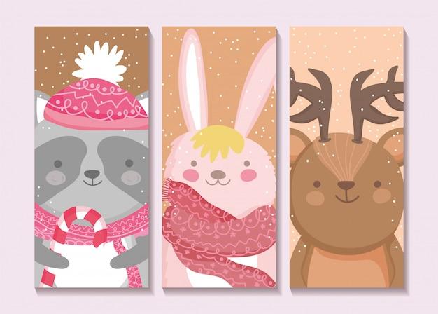 Weihnachtskarten mit kaninchen, waschbär und rotwild