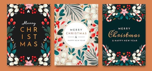 Weihnachtskarten mit verzierungen von zweigen, beeren und blättern. satz grußkarten.