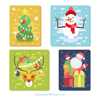 Weihnachtskarten mit zeichen und weihnachtsbaum in flaches design