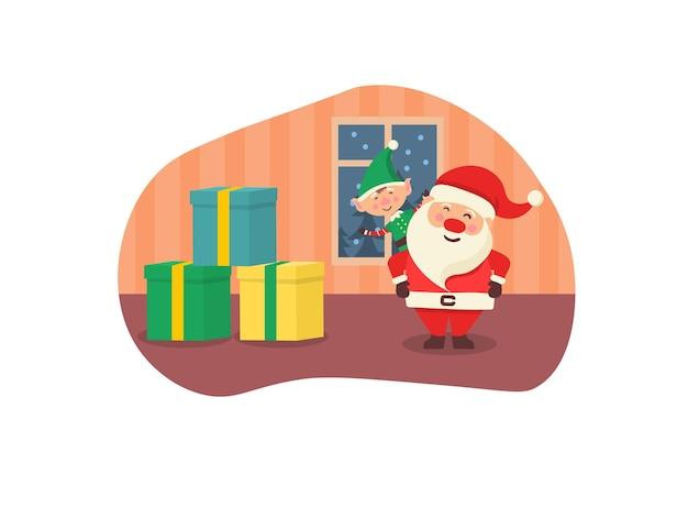 Weihnachtskartenbanner mit süßen wintertieren mit geschenken handgezeichnete süße waldfiguren