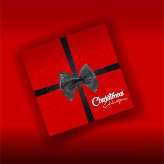 Weihnachtskartendesign mit elegantem design und rotem hintergrund vec