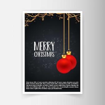 Weihnachtskartendesign mit elegantem design und schwarzem hintergrund v.
