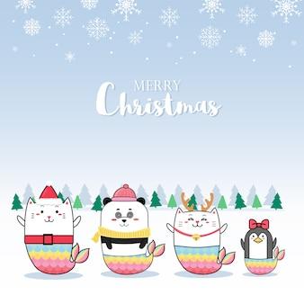 Weihnachtskartendesign mit netter tiermeerjungfraukarikatur