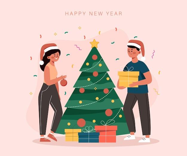 Weihnachtskartenleute schmücken den baum und schenken geschenke für das neue jahr