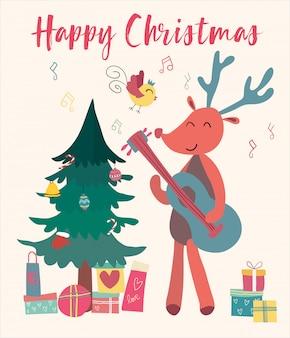 Weihnachtskartenren spielt gitarre