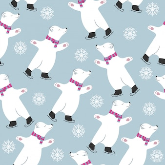 Weihnachtskartensammlung mit eislaufen der eisbären