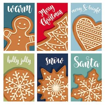 Weihnachtskartensammlung mit lebkuchen