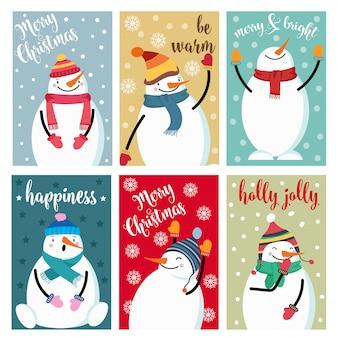 Weihnachtskartensammlung mit schneemann und wünschen