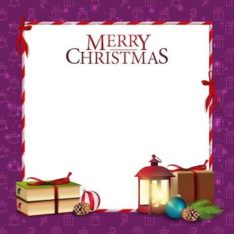Weihnachtskartenschablone mit buch und alter laterne