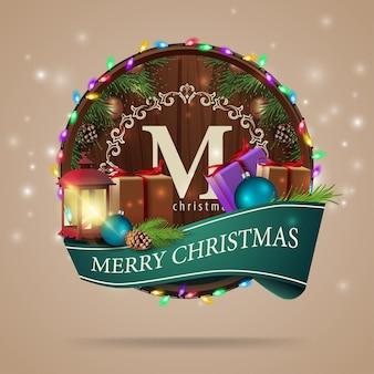 Weihnachtskartenschablone mit geschenke und alte laterne
