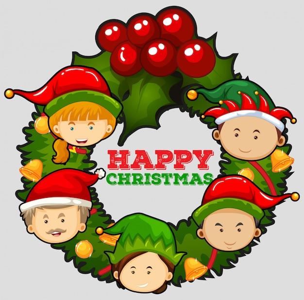 Weihnachtskartenschablone mit mistelzweigen