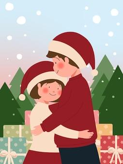 Weihnachtskartenschablone mit paar