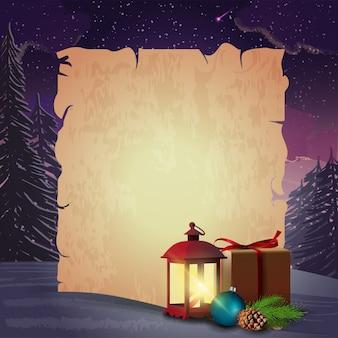 Weihnachtskartenschablone mit papierblatt und antiker lampe