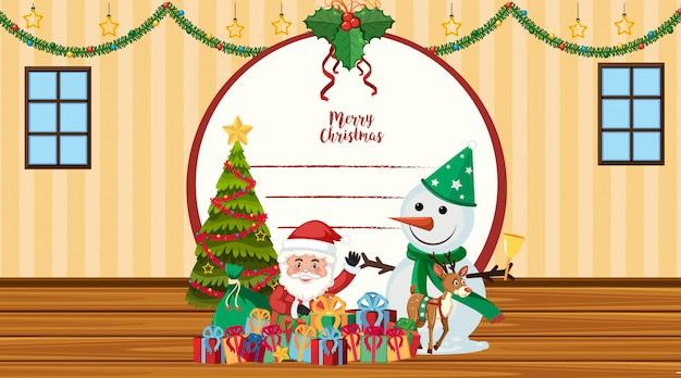 Weihnachtskartenschablone mit sankt und schneemann