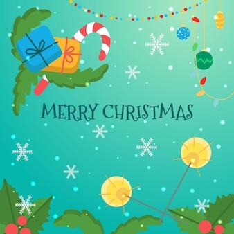 Weihnachtskartenschablone mit wunderkerzen, geschenken und weihnachtsdekorationen