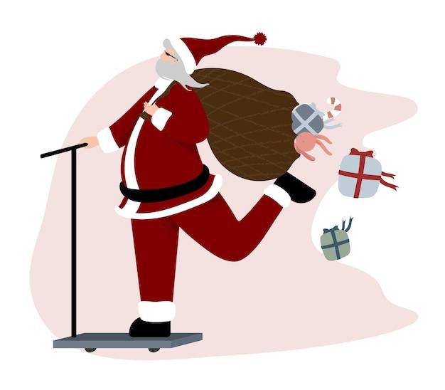 Weihnachtskartentmmplate mit weihnachtsmann-cartoon-figur
