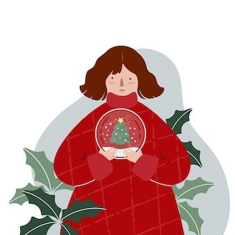 Weihnachtskartentmmplate mit zeichentrickfigur